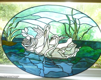 300 dollars off original price. Sale ending soon. AWARD WINNING PIECE. Oval Panel with Swans