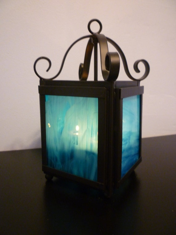 LIMITED TIME SALE. Wrought Iron Stained Glass Tea Light Lantern