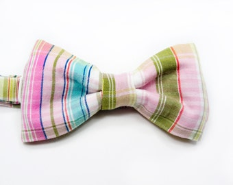 Kids Bow Tie - plaid pink green madras bowtie - Baby, toddler boys tie .