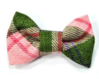 Men College green and pink bowtie - Baby, toddler boys tie Kids Clip-On Bow Tie