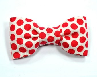 Men polka dots red bowtie- Baby, toddler boys tie Kids Clip-On Bow Tie