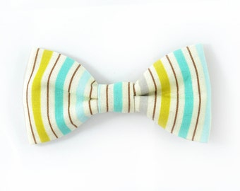 Men seafoam and yellow striped bowtie - Baby, toddler boys tie.Kids Clip-On Bow Tie