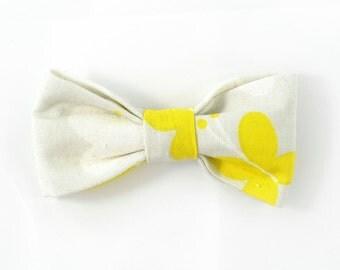 Men yellow and grey wedding bowtie - Baby, toddler boys tie Wedding Kids Bow Tie