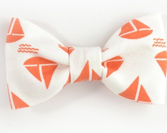 Men orange sailboats bowtie - Baby, toddler boys tie Kids Clip-On Bow Tie