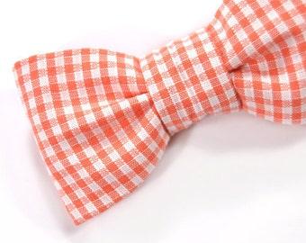 Men Valentine Day Kids Bow Tie-gingham orange white plaid bowtie - Baby, toddler boys tie .