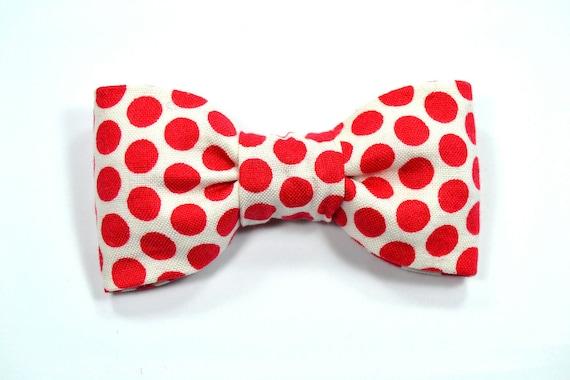 Men polka dots red bowtie- Baby, toddler boys tie Kids Clip-On Bow Tie