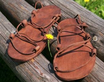 Jesus Leather Sandals Brown
