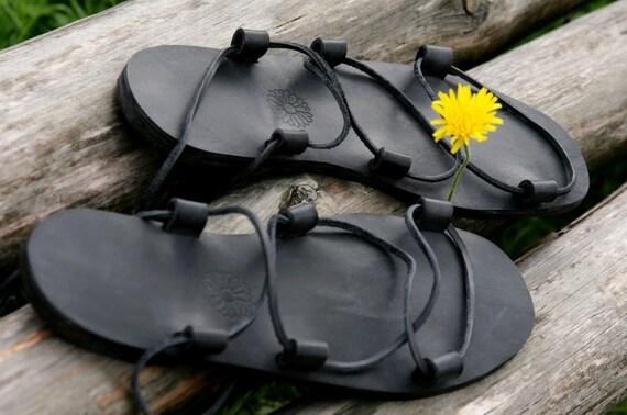 Jesus Leather Sandals Black