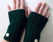 SPRING CLEANING SALE Going Green Fingerless Ribbed Gloves with white buttons
