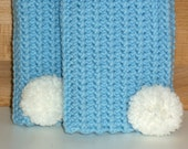 SPRING CLEANING SALE Baby Blue and white Fingerless Gloves Bunny Tail pompoms