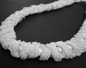SALE%70...White,Pearl,Lace Necklace
