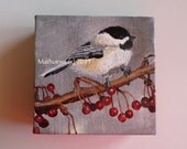 "Chickadee   Original Signed Acrylic Painting 4""X4"""