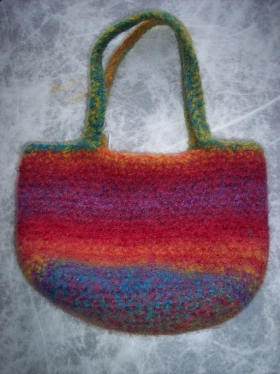 Small Crochet Wool Felted Purse