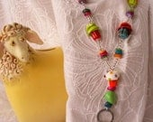 Beaded ID Badge Lanyard Necklace with Flat Badge Clip and Breakaway Magnetic Clasp