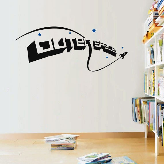 Cool outer space space ship and stars vinyl by for Outer space vinyl wall decals