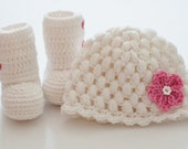 Baby beanie and ankle booties set in white  ---- available in different colors