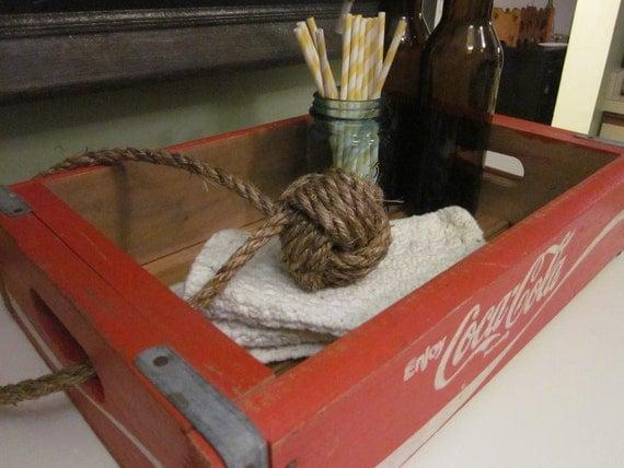 vintage wooden coca-cola crate & rope