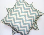 BLUE PILLOW SALE.Set of Two.18x18 inch.Decorative Pillow Covers.Housewares.Home Decor.Blue Pillows.Covers.Chevron.Blue Pillows.Home Decor