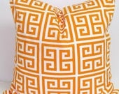 ORANGE PILLOWS.16x16 inch.Orange Pillow Cover.Greek Key.Decorative Pillows.Cover.Orange Throw Pillow.Orange Pillow.Cushion.Tangarine.Toss.cm