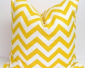 YELLOW CHEVRON PILLOW.16x16 inch.Pillow Cover.Decorative Pillows.Yellow Cover.Yellow Pillow.Throw Pillow.Yellow Chevron..Housewares.Home