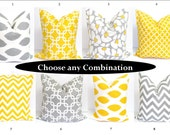 Gray Yellow Pillows.SETS.14x14 inch Decorator Pillow Cover.Free Shipping.Printed Fabric Front and Back
