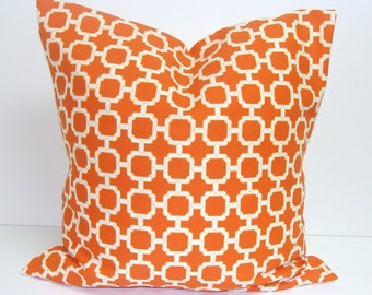 ORANGE PILLOW.18x18 inch.Pillow Cover.Decorative Pillow Cover.Indoor.Outdoor.Cushion.Home Decor.Outdoor Cushion.Bright Orange Housewares.