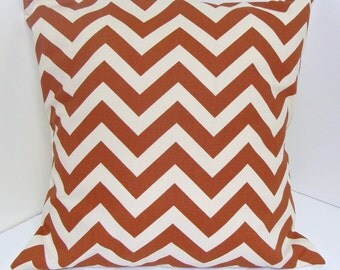 RUST PILLOW SALE.Pillow. Rust.16x16 inch.Decorative Pillow Covers.Decorative Pillows.Throw Pillow.Rust ZigZag.Zig Zag.Cm.Rust.