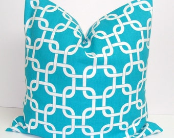 TURQUOISE PILLOW.20x20 inch.Pillow Cover. Decorative Pillows.Housewares.Turquoise Throw Pillow.Turquoise Blue Pillow.Cushion.Chainlink.51 Cm