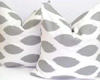 GRAY PILLOW SET.18X18 inch.Sale.Decorative Pillow Covers .Housewares.Home Decor.Ikat,Gray Ikat.Popular.Grey Pillows.cm.Gray Pillows.Popular