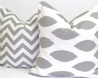 GRAY PILLOW SET.16x16 inch.Pillow Covers Set.Decorative Pillows.Housewares.Gray Chevron.Grey Chevron.Gray Pillows.Grey Pillows.Zig.Chevron