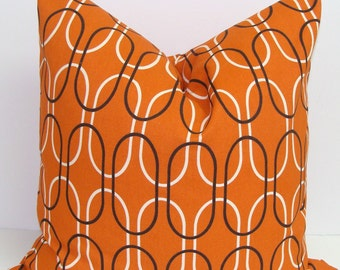 ORANGE PILLOW.18x18 inch.Decorative Pillow Cover.Home Decor.Decor.Housewares.Home Decor.Geometric.Orange Brown Pillow.Cm.Burnt Orange.Throw