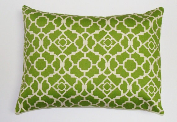 CUSTOM PILLOWS for Camara. One Green Lattice Pillow.12x18. Customer Provided Fabric. Printed Fabric Front and Back.Housewares.Home Decor