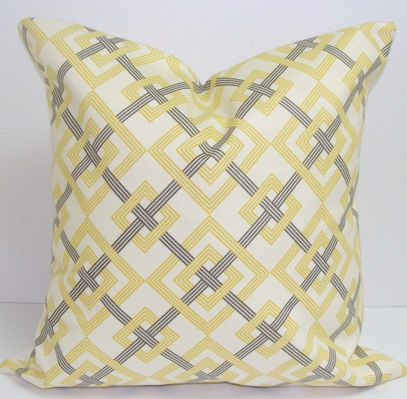 YELLOW PILLOW COVER.18x18 inch.Pillows. Decorative Pillows.Yellow Pillow Cover.Housewares.Pale Yellow.Ivory.Silver Gray.Grey Pillow.Cushion