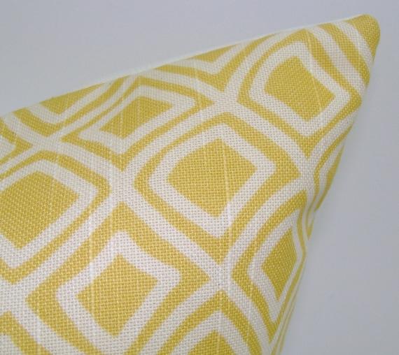PILLOW.YELLOW PILLOW.12x16 or 12x18 inch.Pillow Cover.Decorative Pillows.Yellow.Housewares.cm.Diamonds.Linen.Unique.Cushion.Pillow.Sale