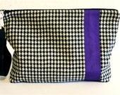 Ipad, Wallet, Diaper Bag--  Urban  Zipper Wristlet Bag-Vintage Wool Appliqued Purple Ribbon