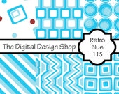 Digital Scrapbook Paper For Personal & Commercial Use - Retro Blue 115