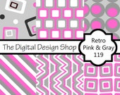 Digital Scrapbook Paper For Personal & Commercial Use - Retro Pink And Gray 119