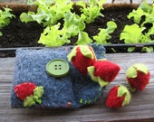 4 handmade play strawberries with strawberry patch pouch