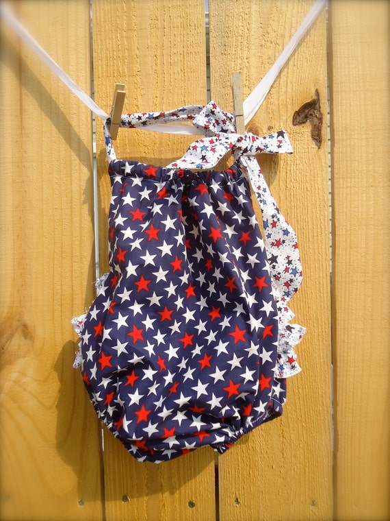 LAST ONE  4th of July Festive Celebration Sun Suit Ruffle Romper