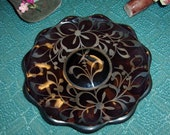 Small Decorative Plate  Made In Florence Italy  Purple Or Deep Dark Red/ Silver Design