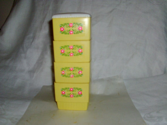 Vintage Hard Plastic Stackable Containers To Hold Bobby Pins, Clips, Etc....