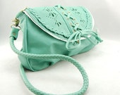 Free Ship 40% off - Teal Faux Leather Crochet Shoulder Bag