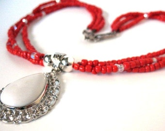 White agate with red seed beads and clear swaroski crystal beaded necklace