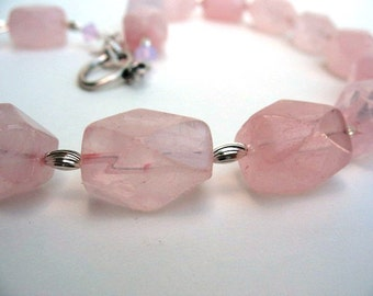Friendship and Beauty Necklace.  Rose Quartz and Sterling Silver choker.