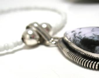 Necklace - Dendritic Agate Sterling Pendant necklace with white seed beads