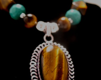 Tigers Eye and Turquoise Necklace (Sterling Silver)