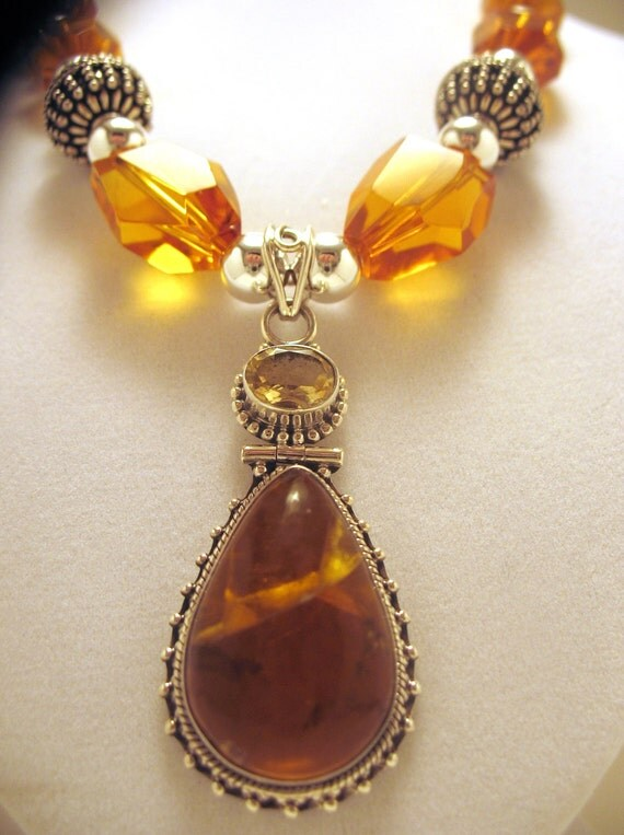 Citrine and Sterling Silver Pendant Statement Necklace