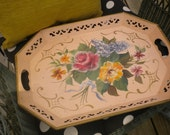 Rare Pink Vintage Tole Tray, French country,Cottage,Cottage chic,French,Shabby Chic