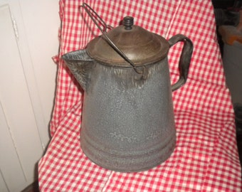 Large Vintage Granite Coffee Pot,country,primitive,coffee pot,graniteware,folk,cottage