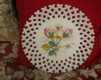 Vintage Rose Bud Milk Glass Plate,French Country,Cottage,Cottage Chic,Shabby Chic